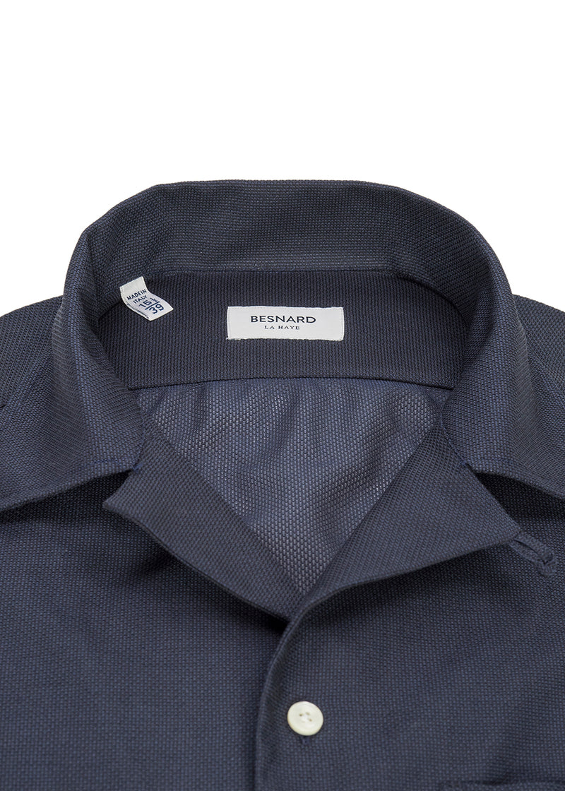 Navy Giro Inglese Camp Collar Shirt