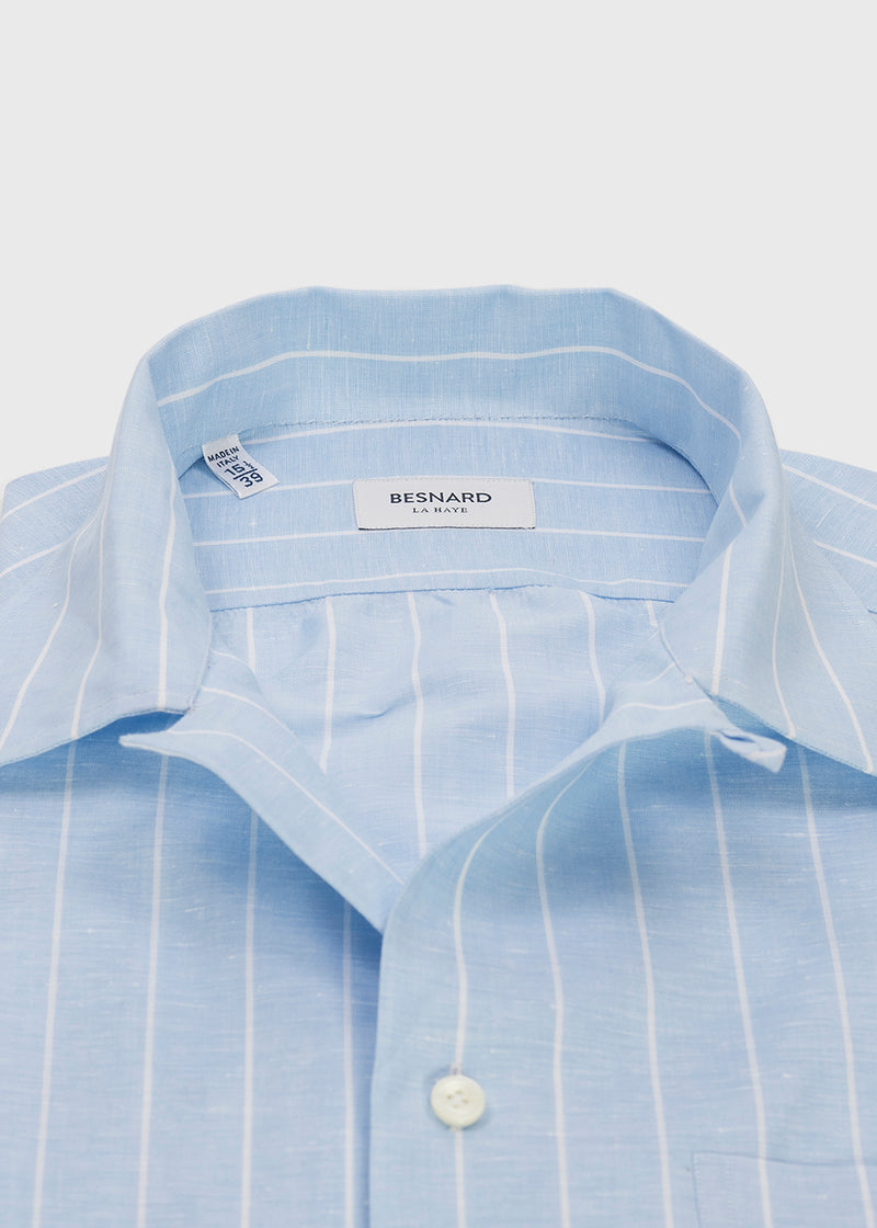 Blue Reverse Stripe Camp Collar Shirt