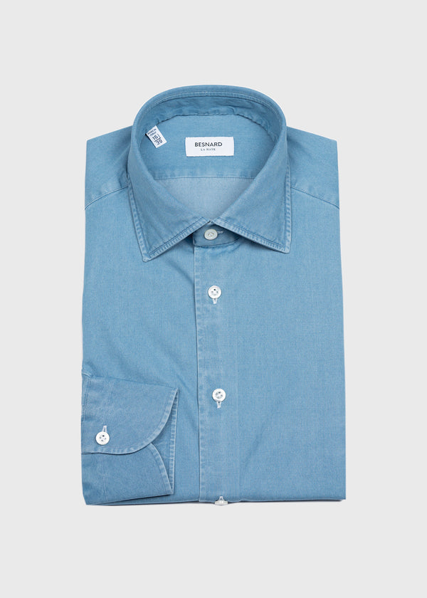 Bleached Denim Spread Collar Shirt