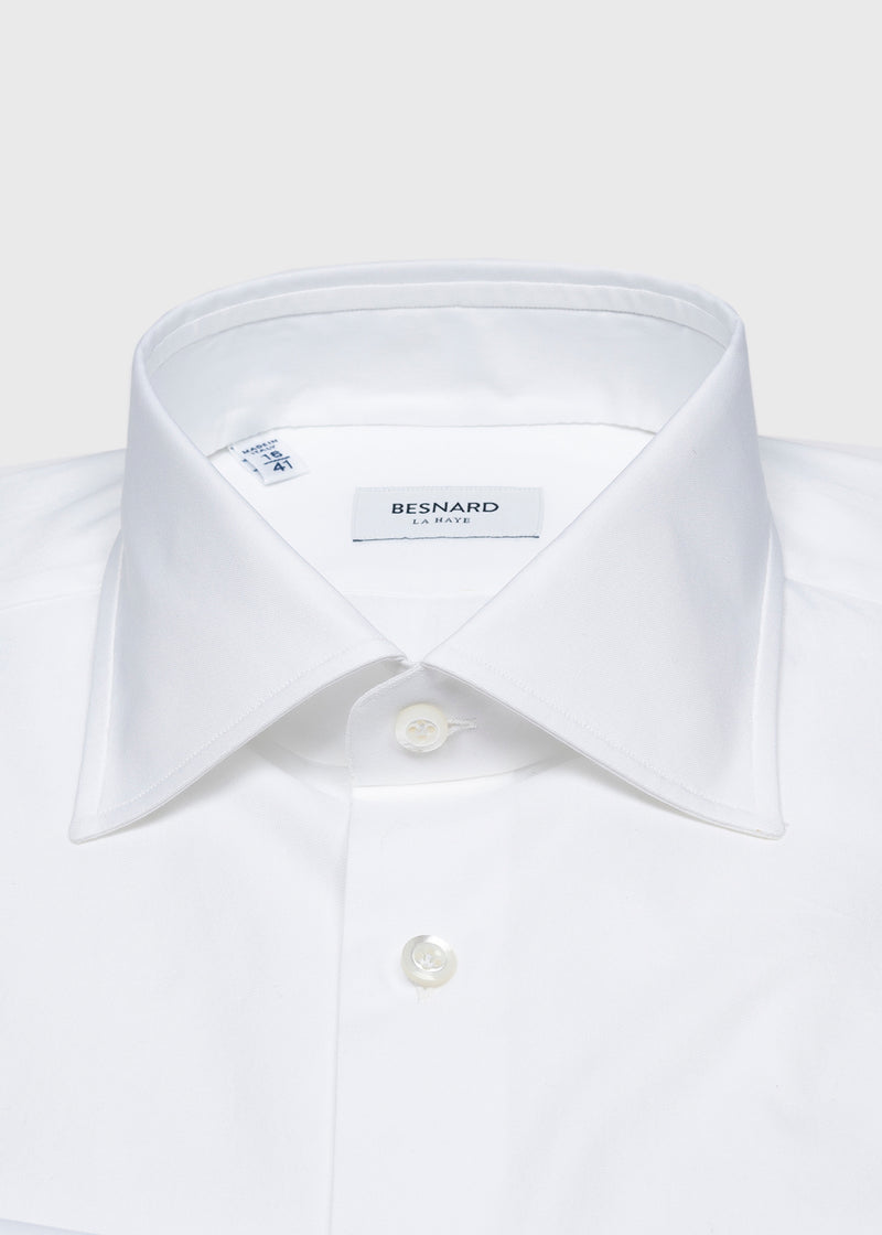 White Pinpoint Spread Collar Shirt