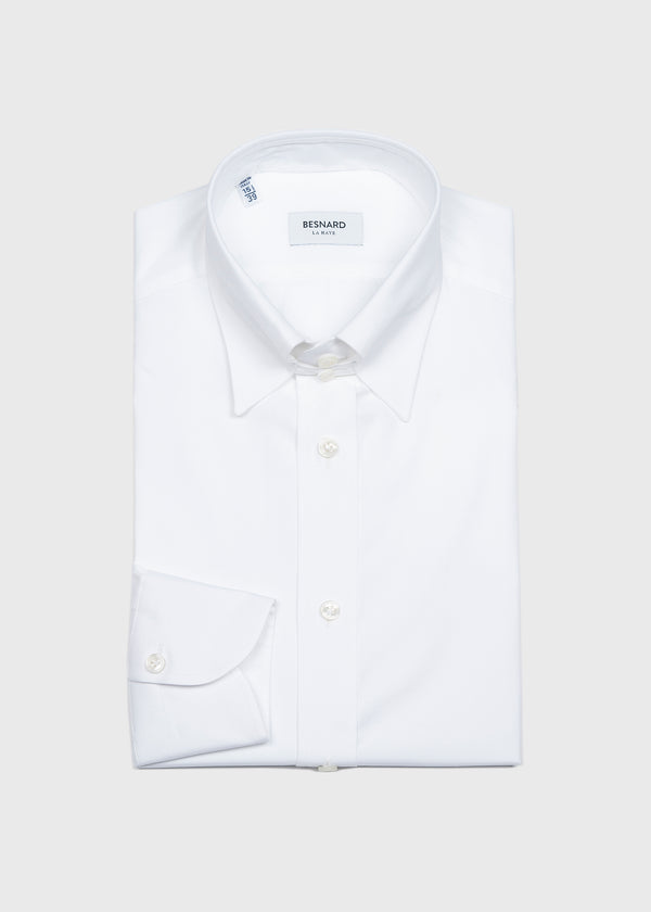 White Pinpoint Tab Collar Shirt