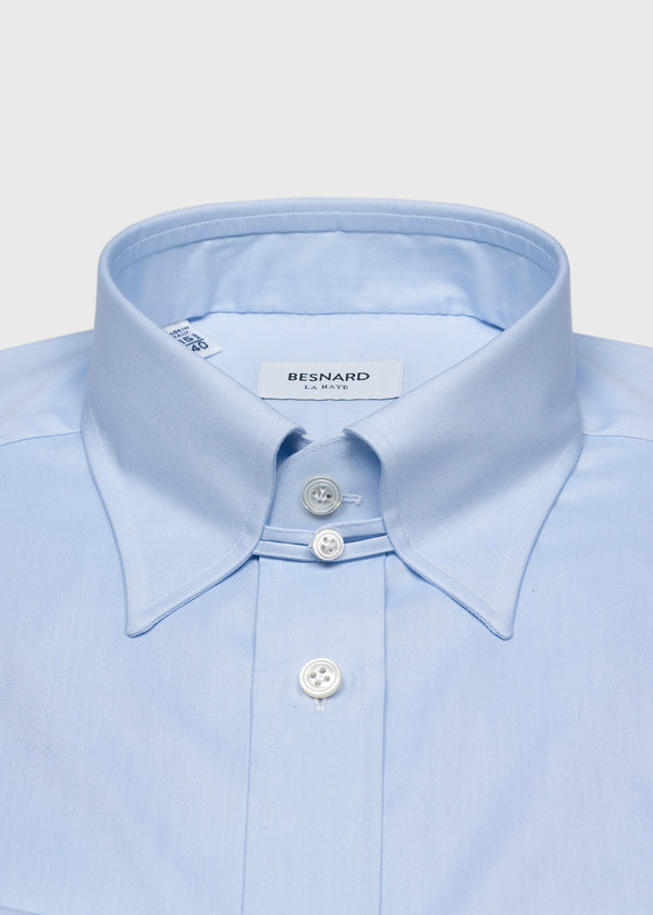Blue Pinpoint Tab Collar Shirt