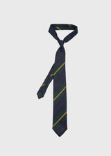 Hand rolled Navy Green Yellow Striped Grenadine Tie