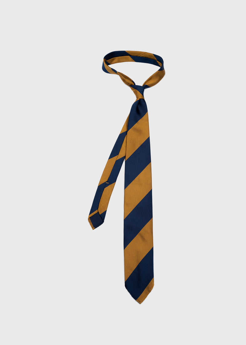 Hand rolled Blue Gold Block Stripe Repp Tie