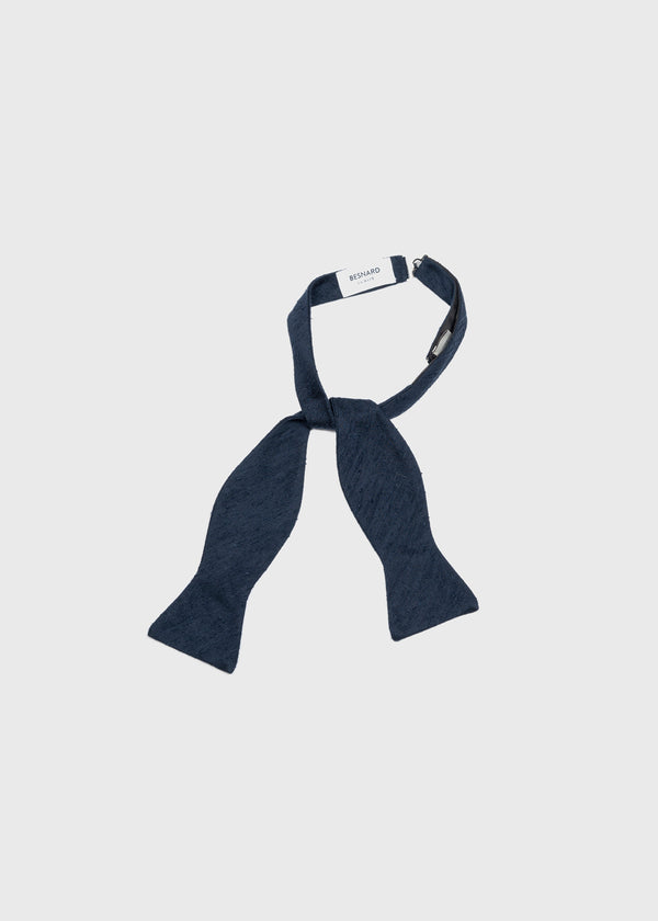 Self Tie Bow Tie in Navy Shantung