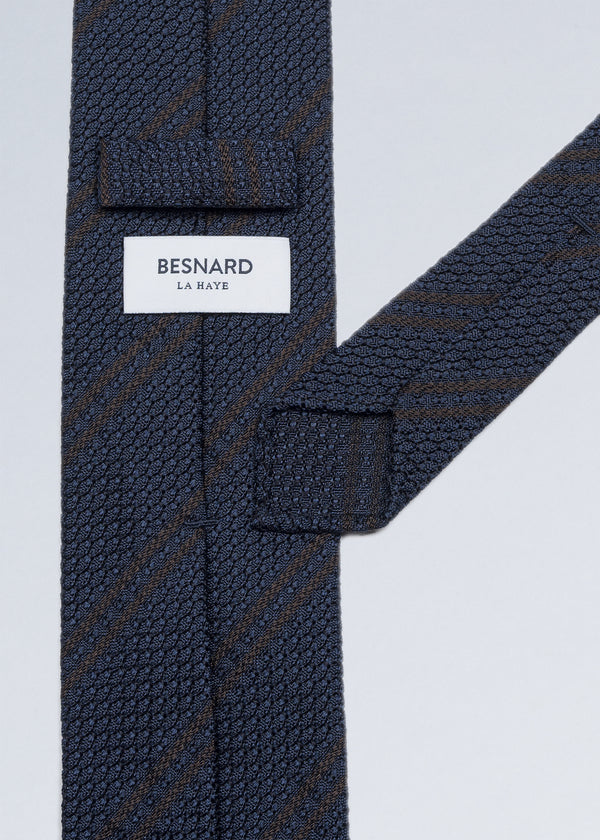 Hand rolled Navy Brown Striped Grenadine Tie
