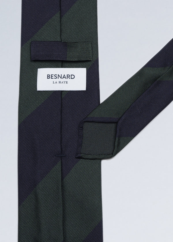 Hand rolled Navy Green Block Stripe Repp Tie