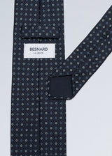 Hand rolled Navy Pattern Printed Silk Tie
