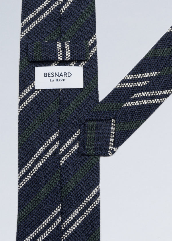Hand rolled Navy Green Striped Grenadine Tie