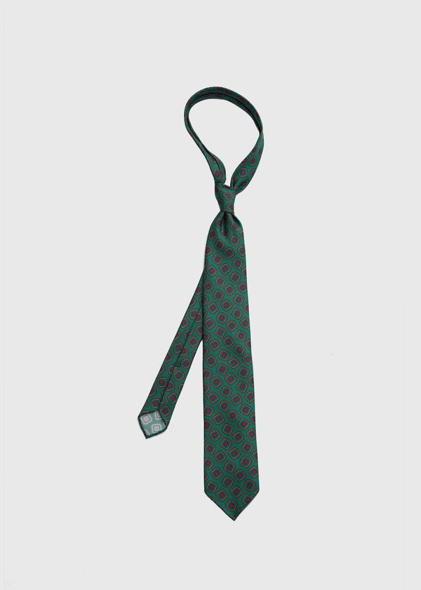 Hand rolled Green Medallion Printed Silk Tie