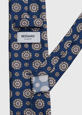 Hand rolled Blue Medallion Printed Silk Tie