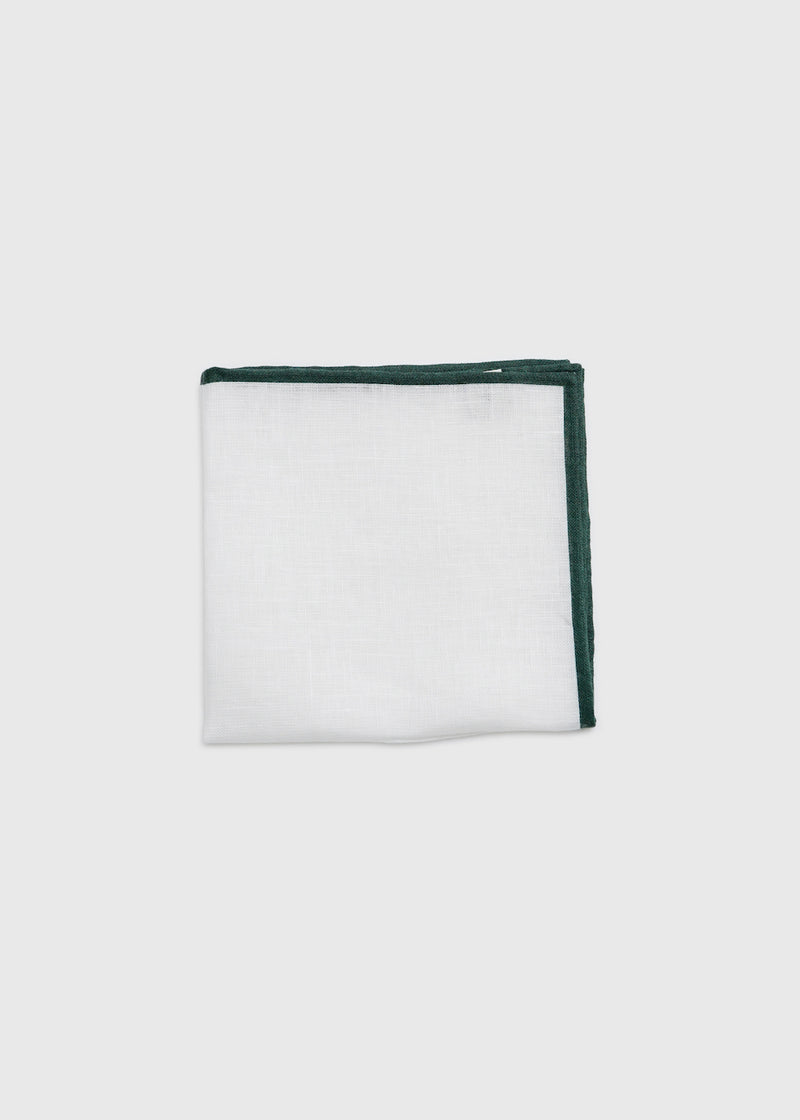 Linen Pocket Square Green Shoestring