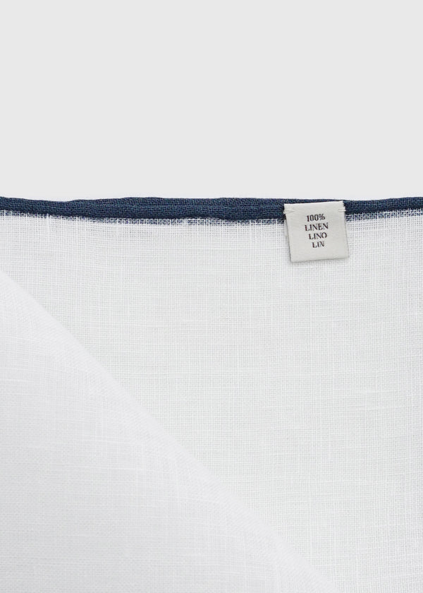 Linen Pocket Square Navy Shoestring