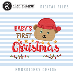 Baby's first Christmas machine embroidery design with cute bear head