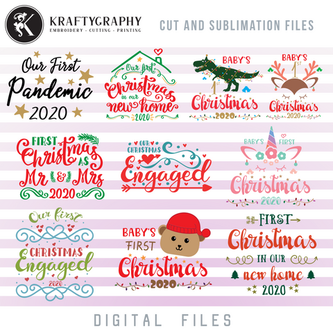 1st Christmas SVG Bundle, Our First Christmas Engaged Clipart, Christmas SVG for Baby, Christmas Ornaments SVG Files, Married SVG, Couple SVG, Christmas as MR and Mrs SVG, New Home SVG, New House SVG
