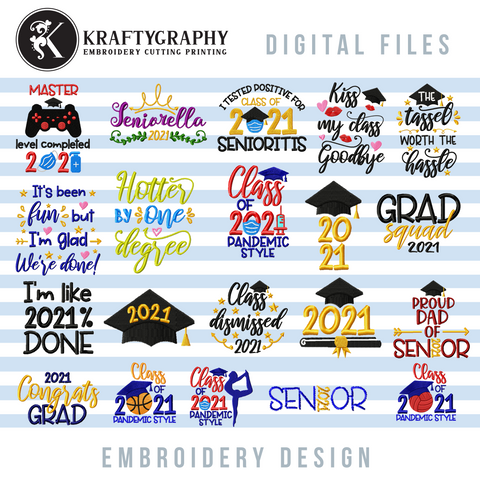 Class of 2021 machine embroidery design bundle, funny embroidery patterns for pandemic graduation 2021