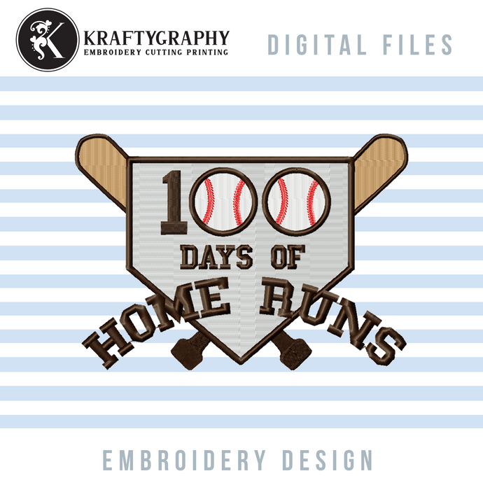 100 Days of School Baseball Machine Embroidery Sayings, 100 Days of School Embroidery Patterns, Student Shirt Embroidery Pes Files, Baseball Diamond Embroidery Jef, Baseball Bat Hus Files, Baseball Embroidery-Kraftygraphy