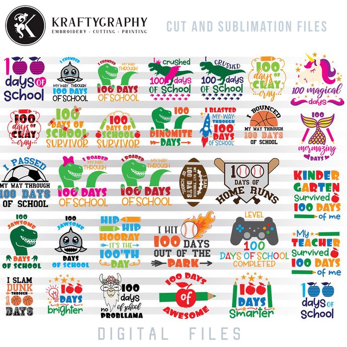 100 Days of School SVG Bundle, Shirt for Teacher Clipart, Shirt for Students, Unicorn Face SVG Design, Dog Fce Dxf Files, Flamingo PNG for Sublimation, Sloth Hanging SVG Cutting Files, Dinosaur Girl SVG Digital Downloads-Kraftygraphy
