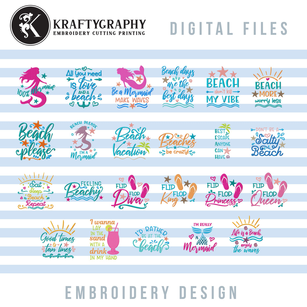 Beach Machine Embroidery Patterns Bundle, Mermaid Embroidery Sayings, Beach Towels Embroidery Designs, Beach Bags Pes Files, Funny Hus, Summer Embroidery Stitches, Vacation Embroidery Word Art-Kraftygraphy
