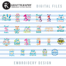 Load image into Gallery viewer, Beach Machine Embroidery Patterns Bundle, Mermaid Embroidery Sayings, Beach Towels Embroidery Designs, Beach Bags Pes Files, Funny Hus, Summer Embroidery Stitches, Vacation Embroidery Word Art-Kraftygraphy