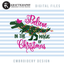 Load image into Gallery viewer, Cute Christmas Dinosaur Machine Embroidery Designs for Girls, T-Rex Christmas Embroidery Patterns, Dinosaur With Christmas Lights Embroidery Files, Tree Rex Pes Files, Christmas Pajamas Embroidery Pes Files-Kraftygraphy