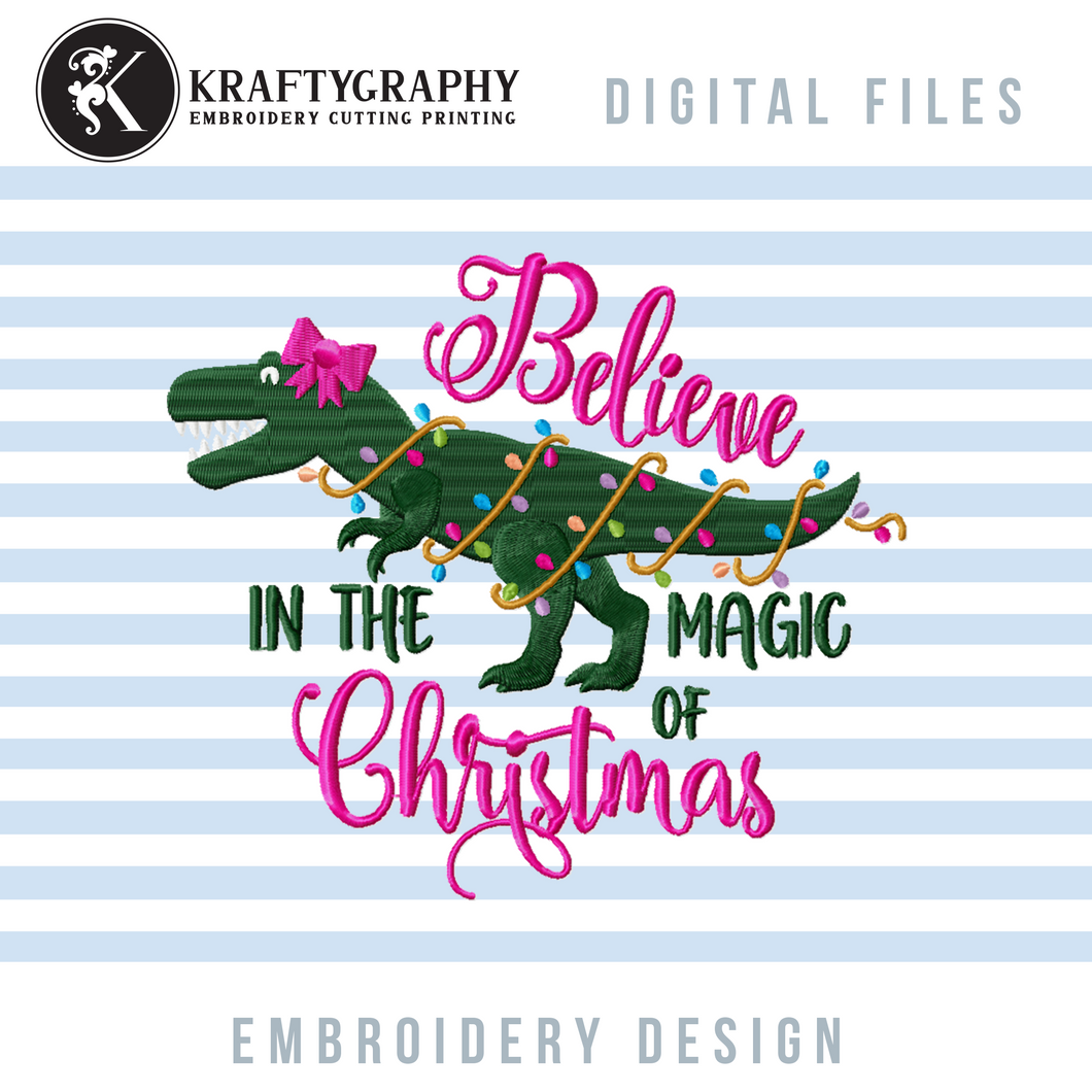 Cute Christmas Dinosaur Machine Embroidery Designs for Girls, T-Rex Christmas Embroidery Patterns, Dinosaur With Christmas Lights Embroidery Files, Tree Rex Pes Files, Christmas Pajamas Embroidery Pes Files-Kraftygraphy