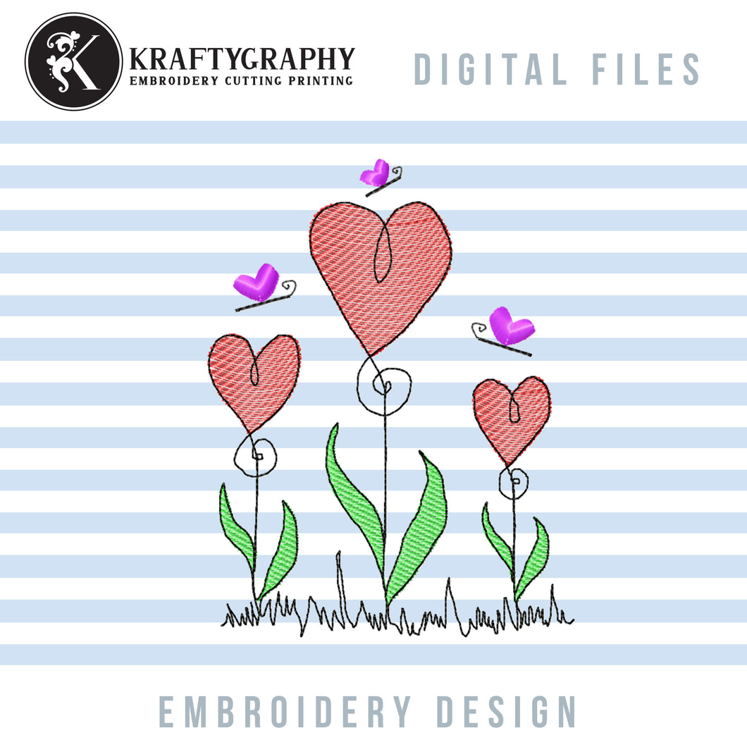 Cute Flower Heart Embroidery Designs, Simple Heart Flower Embroidery Patterns, Valentine's Day Embroidery Files, Mother's Day Pes Files, Floral Embroidery-Kraftygraphy