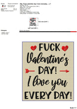 Load image into Gallery viewer, Anti Valentine Embroidery Designs, F-CK Valentine's Day Embroidery Sayings, Adult Humor Embroidery Patterns, Sarcastic Embroidery Pes Files, Funny Love Jef, Inaproppriate Hus, Rude Embroidery Files-Kraftygraphy