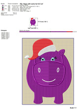 Load image into Gallery viewer, Hippopotamus With Santa Hat Embroidery Designs, Christmas Hippo Embroidery Patterns, Christmas Embroidery Files, Hippo Applique 5 X 7 Hoop Size-Kraftygraphy