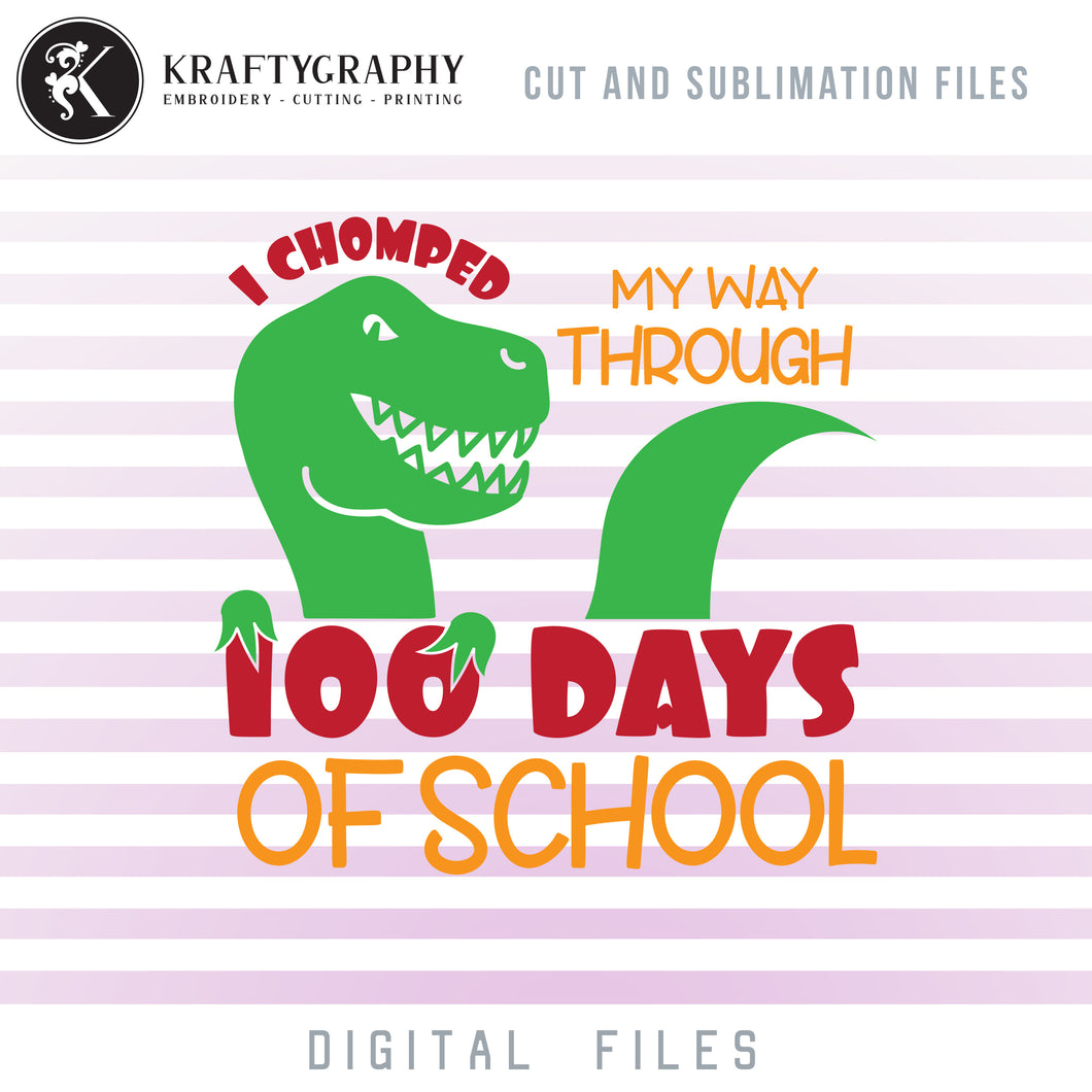 100 Days of School Dinosaur Clipart, Cute T-Rex Face SVG Files, Dinosaur Shirt PNG Files for Sublimation, School Sayings and Quotes, Dxf Files for Laser Cut, School Vector Files, School SVG Cut Files, 100th Day of School SVG-Kraftygraphy