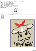 Load image into Gallery viewer, Girl Heifer Machine Embroidery Designs, Cow Head With Bandana Embroidery Patterns, Cute Cow Face Applique Pes Files, I Herd That Hus Files, Farm Animal Embroidery Sayings, Kitchen Towels vp3 Files-Kraftygraphy