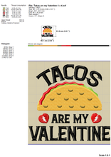 Load image into Gallery viewer, Taco Machine Embroidery Designs, Taco Is My Valentine Embroidery Patterns for Embroidered Shirts, Anti Valentine Embroidery Sayings, Taco Applique, Funny Valentine's Day Pes Files,-Kraftygraphy