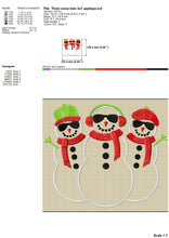 Load image into Gallery viewer, Snowman Embroidery Designs, Snowgirl Embroidery Patterns, Snowman Group Embroidery Files, Christmas Embroidery Fill Stitch, Snowman Applique-Kraftygraphy