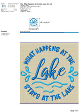 Load image into Gallery viewer, What Happens at the Lake Stays at the Lake Machine Embroidery Designs, Camping Embroidery File, Embroidered Fishing Shirts, Summer Hat Embroidery Designs, Beach Towel Embroidery, Lake Pes, Lake Koozies Embroidery,-Kraftygraphy