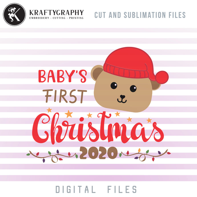 Baby's First Christmas SVG FREE, Bear With Santa Hat Christmas Clipart, Christmas Sayings PNG, 1st Christmas Dxf Laser Cut Files, Christmas Baby SVG Designs, Cute Bear Face SVG Cut Files,-Kraftygraphy