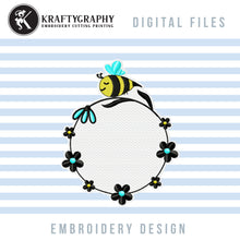 Load image into Gallery viewer, Round Monogram Machine Embroidery Designs, Circle Monogram Embroidery Patterns, Cute Bumble Bee Pes Files, Floral Wreath Embroidery Monogram Frame, Cute Honey Bee Monogram Frame Embroidery, Girls Embroidery Monogram, bee embroidery-Kraftygraphy