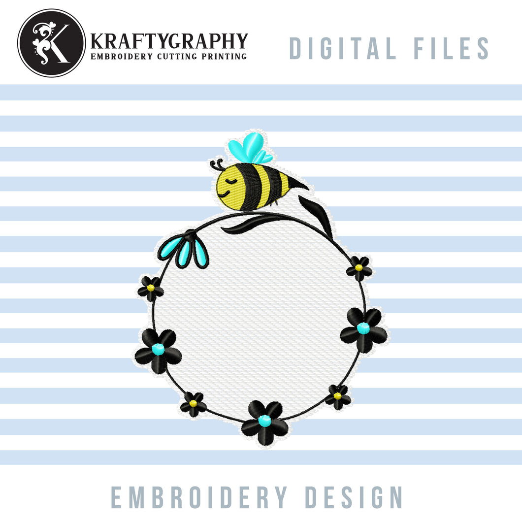 Round Monogram Machine Embroidery Designs, Circle Monogram Embroidery Patterns, Cute Bumble Bee Pes Files, Floral Wreath Embroidery Monogram Frame, Cute Honey Bee Monogram Frame Embroidery, Girls Embroidery Monogram, bee embroidery-Kraftygraphy