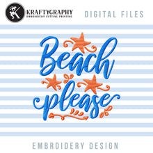 Load image into Gallery viewer, Beach Embroidery Design, Sea Embroidery File, Beach Towel Pes, Summer Embroidery Sayings, Mask Embroidery Jef, Ocean Embroidery Pattern-Kraftygraphy