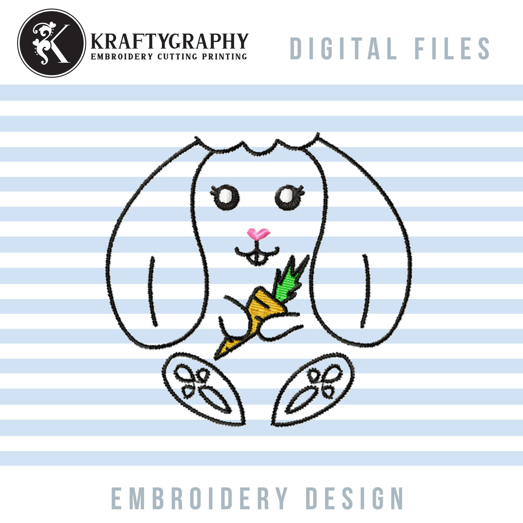 Cute Bunny Machine Embroidery Patterns, Easter Bunny Embroideryu Designs, Funny Rabbit Face Embroidery Files, Rabbit With Carrot Pes Files, Rabbit Outline Embroidery-Kraftygraphy