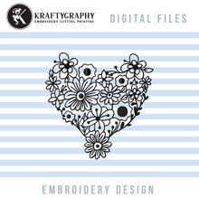 Load image into Gallery viewer, Heart Flower Embroidery Designs, Floral Heart Embroidery Patterns, Heart Outline Machine Embroidery Files, Heart Shaped Embroidery Pes Files, Single Line Embroidery-Kraftygraphy