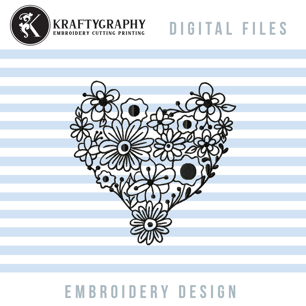 Heart Flower Embroidery Designs, Floral Heart Embroidery Patterns, Heart Outline Machine Embroidery Files, Heart Shaped Embroidery Pes Files, Single Line Embroidery-Kraftygraphy