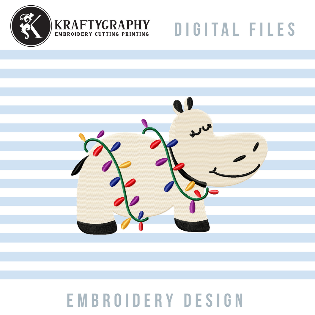 Hippopotamus With Christmas Lights Embroidery Designs, Hippo Embroidery Patterns, Christmas Embroidery, Kids Embroidery Files for Machine Embroidery, Sweater Embroidery, Pillow Embroidery, Ornaments Embroidery-Kraftygraphy