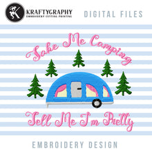 Load image into Gallery viewer, Camping Girl Machine Embroidery Designs, Camper Applique Embroidery Patterns, Forest Campsite Embroidery Files, Mountain Camping Jef-Kraftygraphy