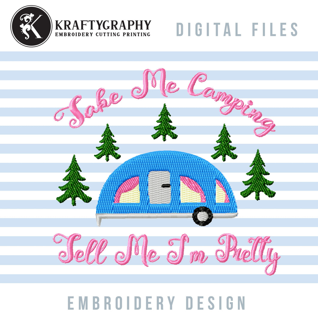 Camping Girl Machine Embroidery Designs, Camper Applique Embroidery Patterns, Forest Campsite Embroidery Files, Mountain Camping Jef-Kraftygraphy