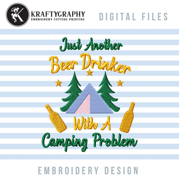 Beer Drinking Machine Embroidery Designs, Beer Camping Embroidery Patterns, Camping Can Coolers Embroidery Sayings, Mountain Campsite Pes-Kraftygraphy