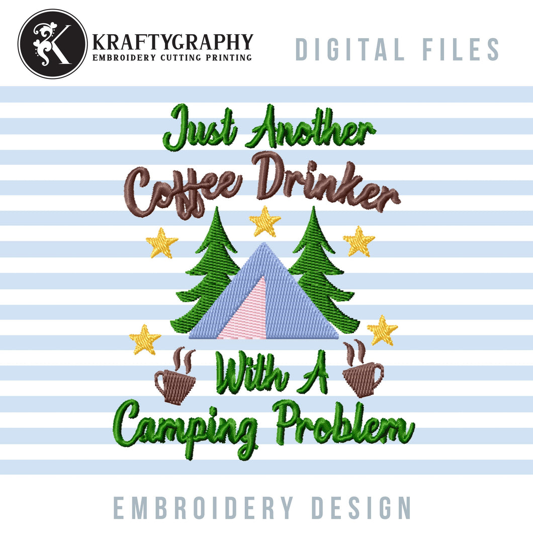 Drinking Camping Machine Embroidery Designs, Coffee Embroidery Patterns, Campsite Towels Embroidery Sayings, Lake Cabin Pes Files, Forest-Kraftygraphy