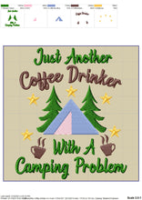 Load image into Gallery viewer, Drinking Camping Machine Embroidery Designs, Coffee Embroidery Patterns, Campsite Towels Embroidery Sayings, Lake Cabin Pes Files, Forest-Kraftygraphy
