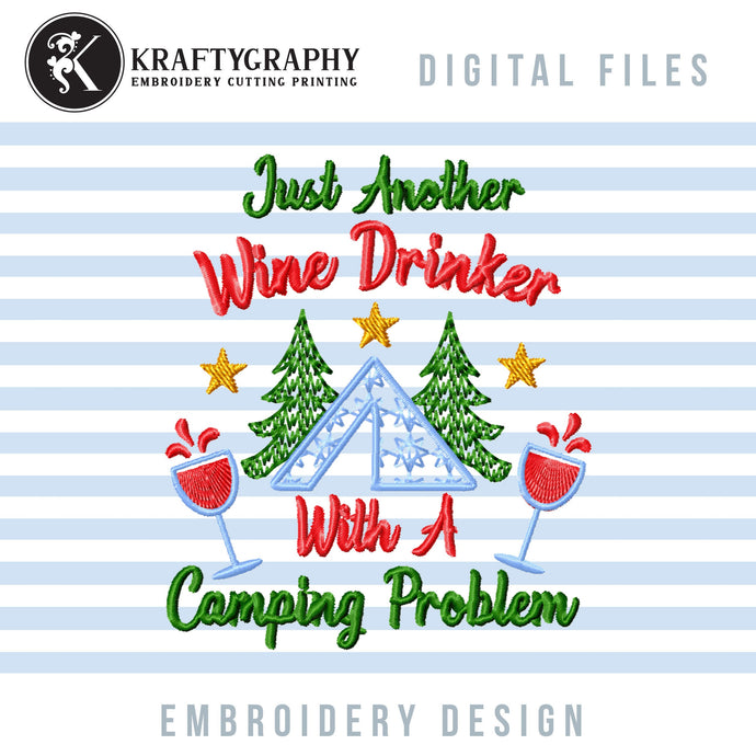 Wine Drinking Machine Embroidery Designs, Camping Drinker Embroidery Sayings, Wine Glasses Embroidery Patterns, Drink Embroidery Files-Kraftygraphy