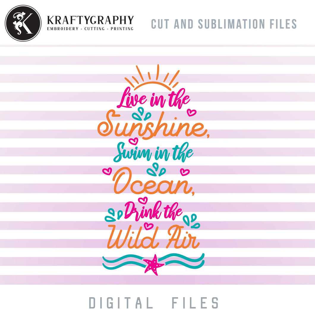 Beach House Sign SVG Cut Files, Sunshine Clipart, Summer Vacation Dxf Laser, Swimming Sayings PNG for Sublimation, Ocean SVG Files, Tropical SVG-Kraftygraphy