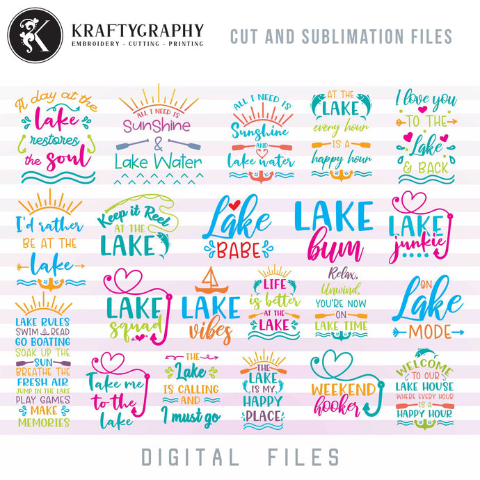 Lake SVG Bundle, Lake Clipart, Lake House Vector, Lake House Sign Sayings, Fishing SVG Images, Camping Quotes SVG, Mountain Camping SVG, Summer Shirt SVG,-Kraftygraphy